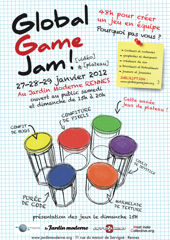 Affiche Global Game Jam Rennes 2012
