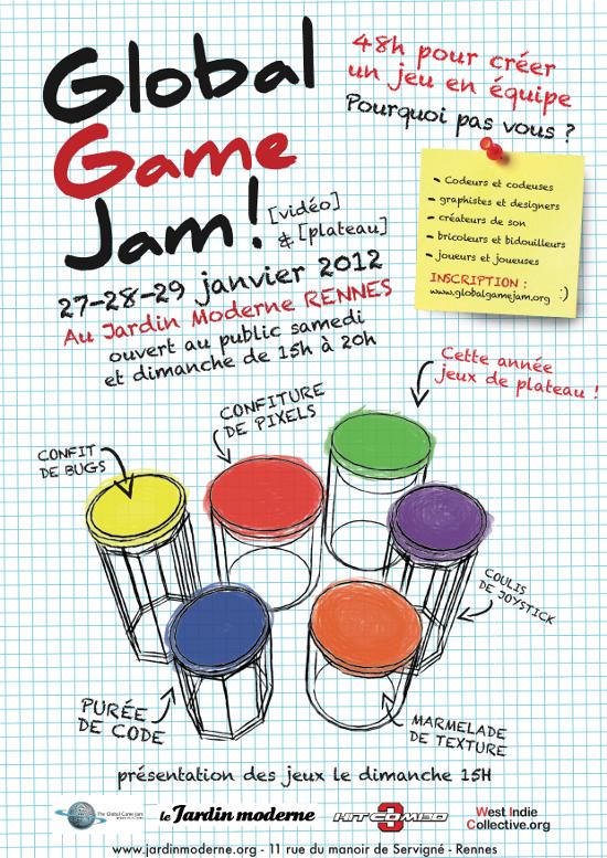 Affiche Global Game Jam Rennes 2012
