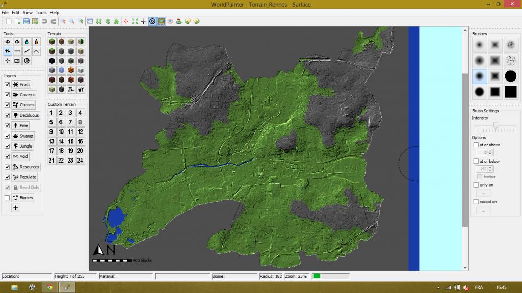 Premier essai d'import de cartographie de Rennes dans Minecraft : réussi !