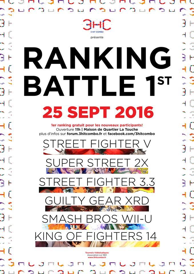 Liste des jeux pour les ranking battle de l'année 2016/2017 organisés par l'association 3 Hit Combo