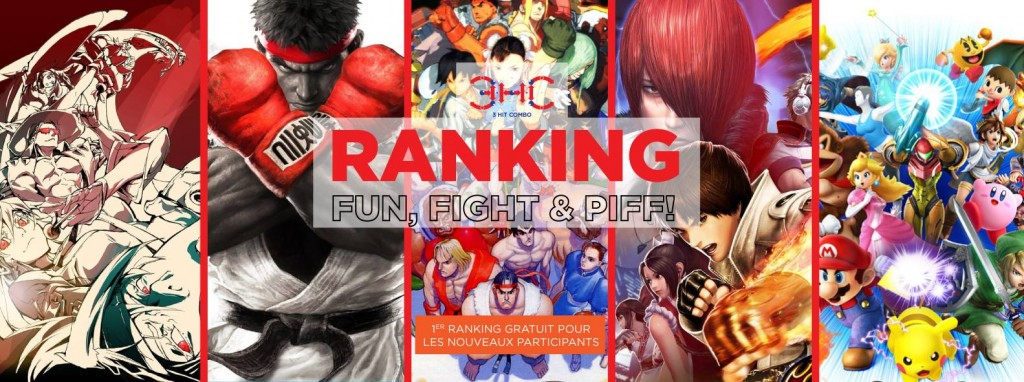 L'affiche pour les jeux de combat présents lors des ranking de 2016/2017 de l'association 3 Hit Combo